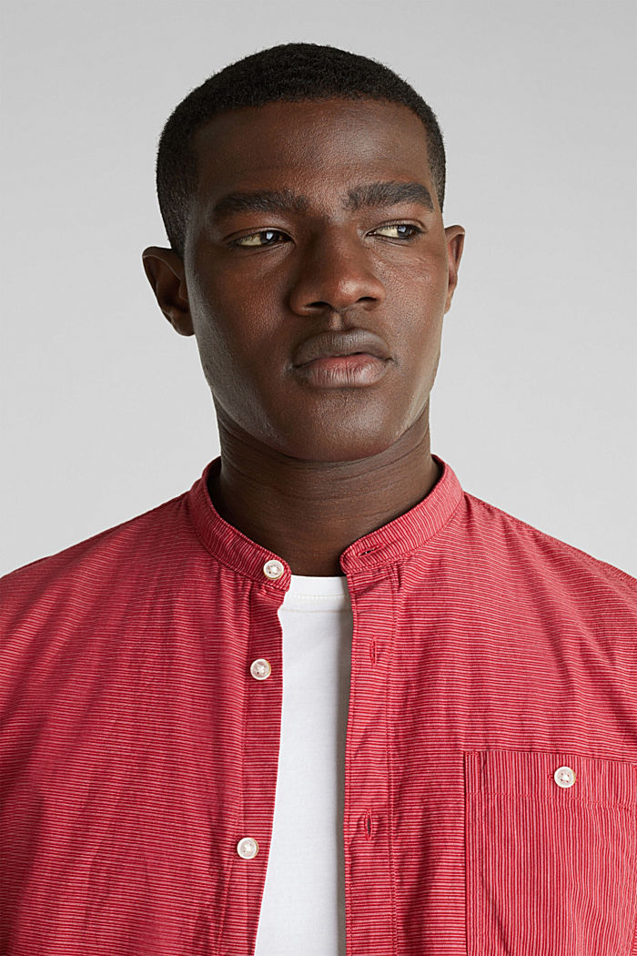 Shirt with band collar, 100% cotton, RED, detail image number 2