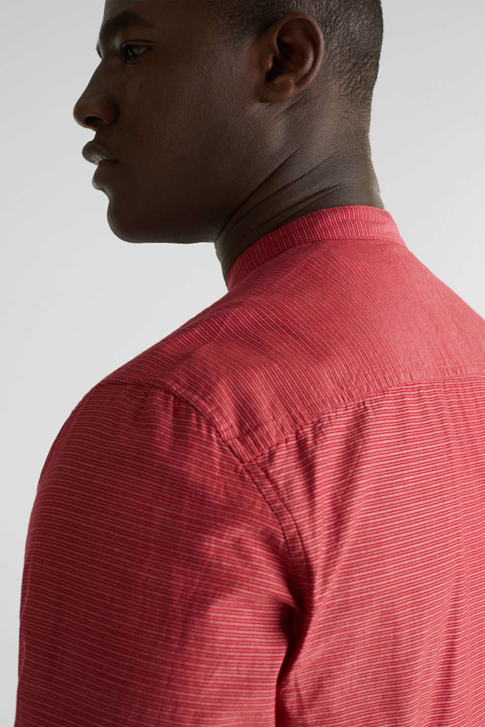 Shirt with band collar, 100% cotton, RED 3, detail image number 5