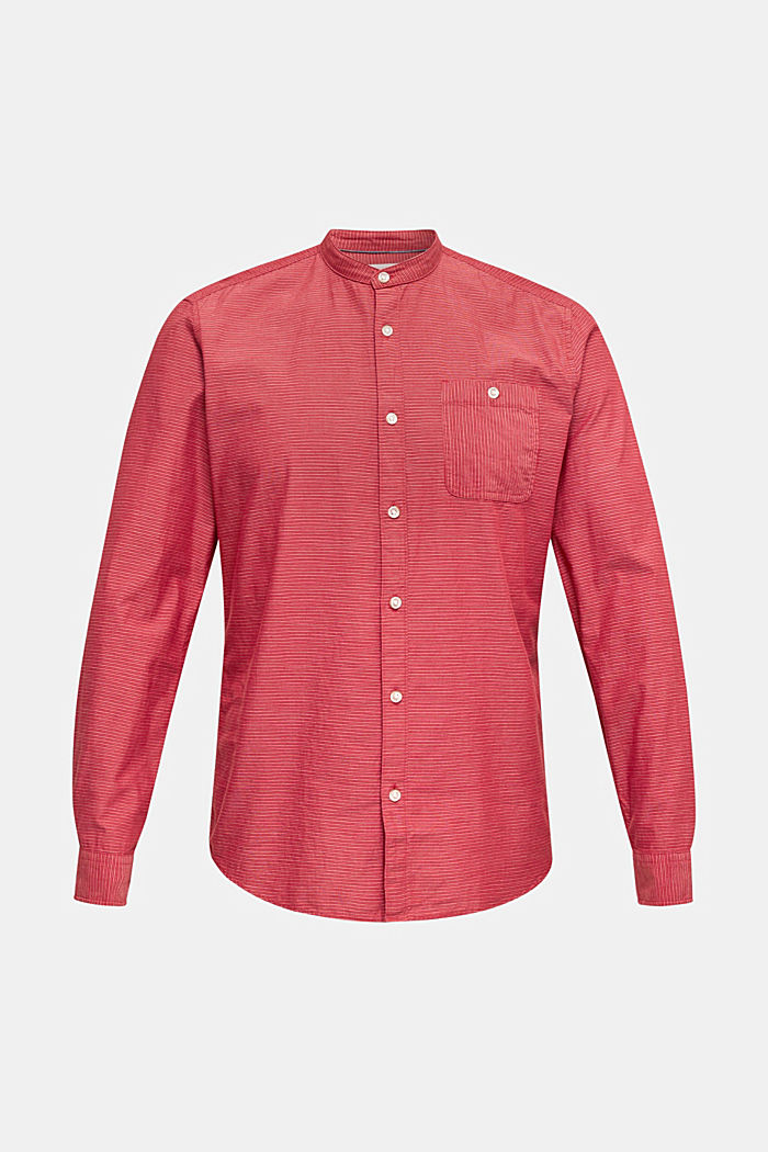 Shirt with band collar, 100% cotton, RED, detail image number 6