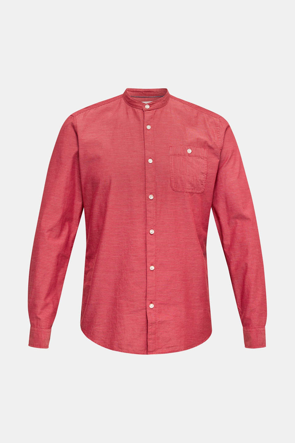 Shirt with band collar, 100% cotton, RED 3, detail image number 6