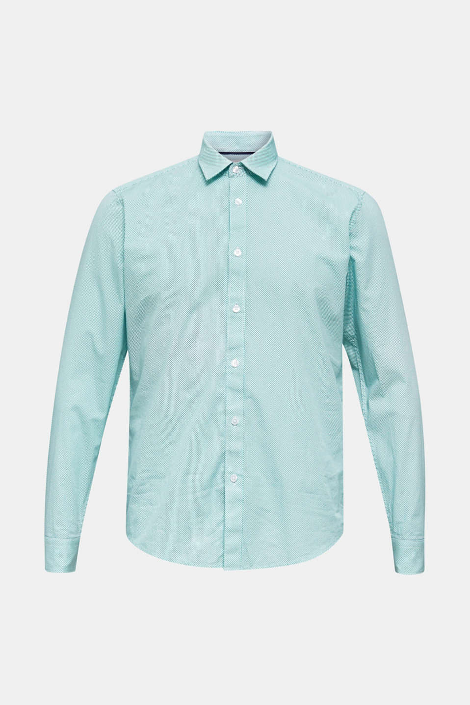 Textured shirt made of 100% cotton, TURQUOISE 4, detail image number 0