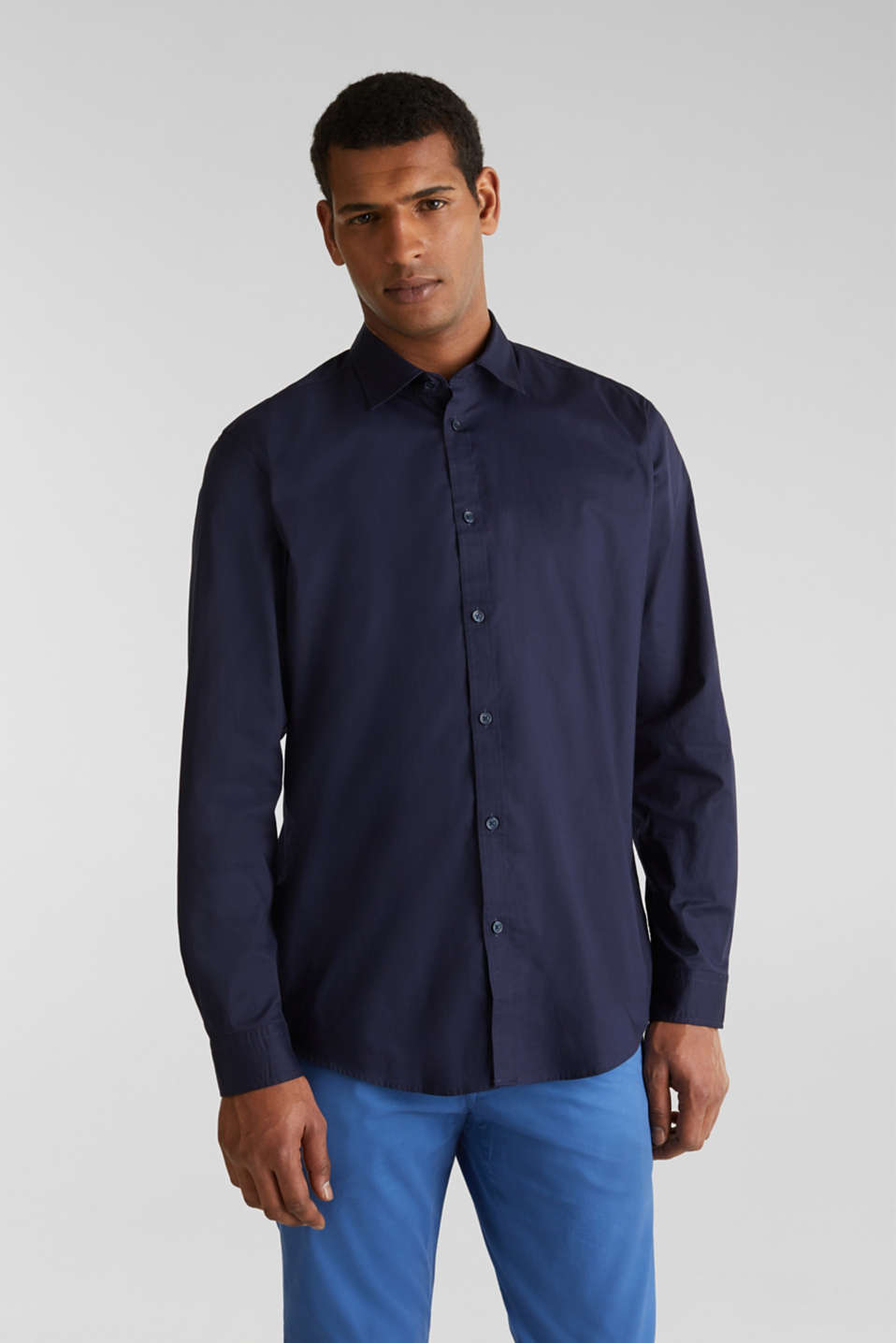 Plain-coloured shirt with COOLMAX®, NAVY, detail image number 0
