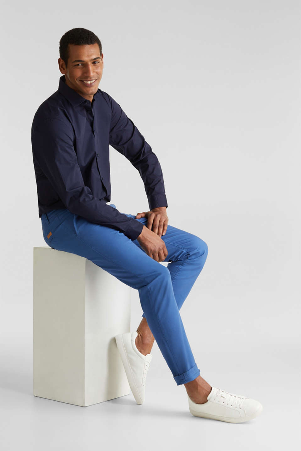 Plain-coloured shirt with COOLMAX®, NAVY, detail image number 7