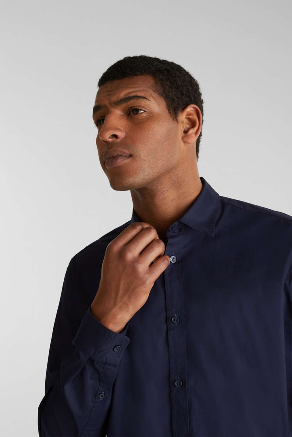 Plain-coloured shirt with COOLMAX®, NAVY, detail image number 2