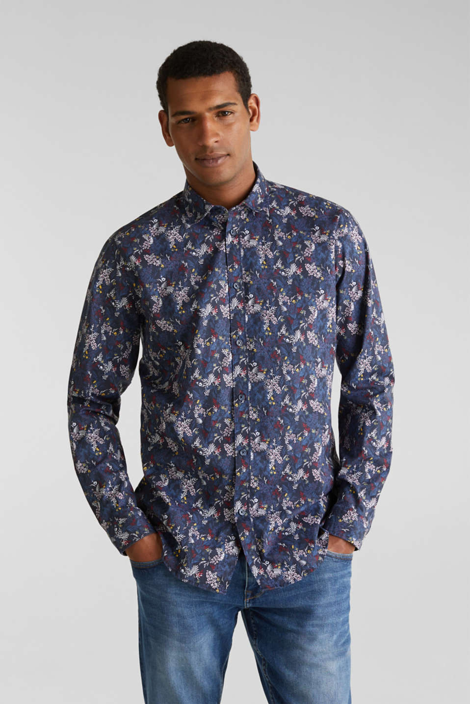 Floral shirt with COOLMAX®, DARK BLUE 4, detail image number 0