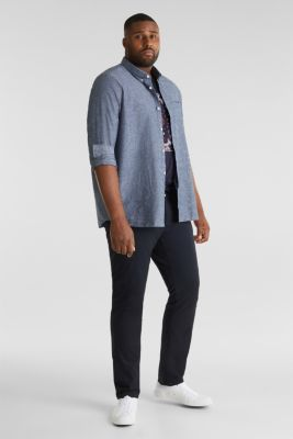 Shirt with linen and a button-down collar, NAVY 5, detail