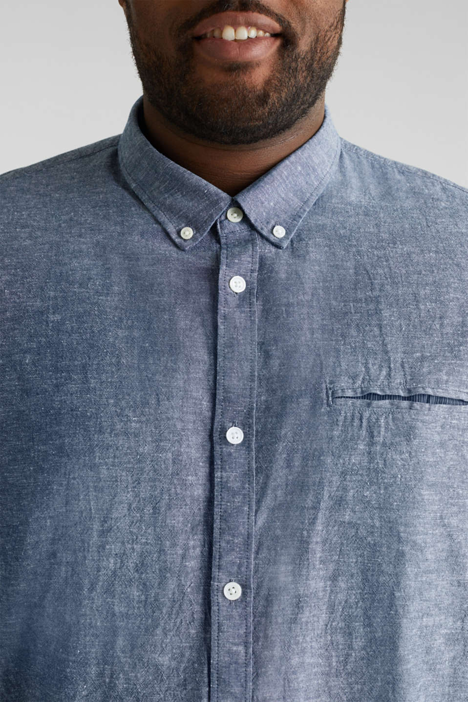 Shirt with linen and a button-down collar, NAVY 5, detail image number 2