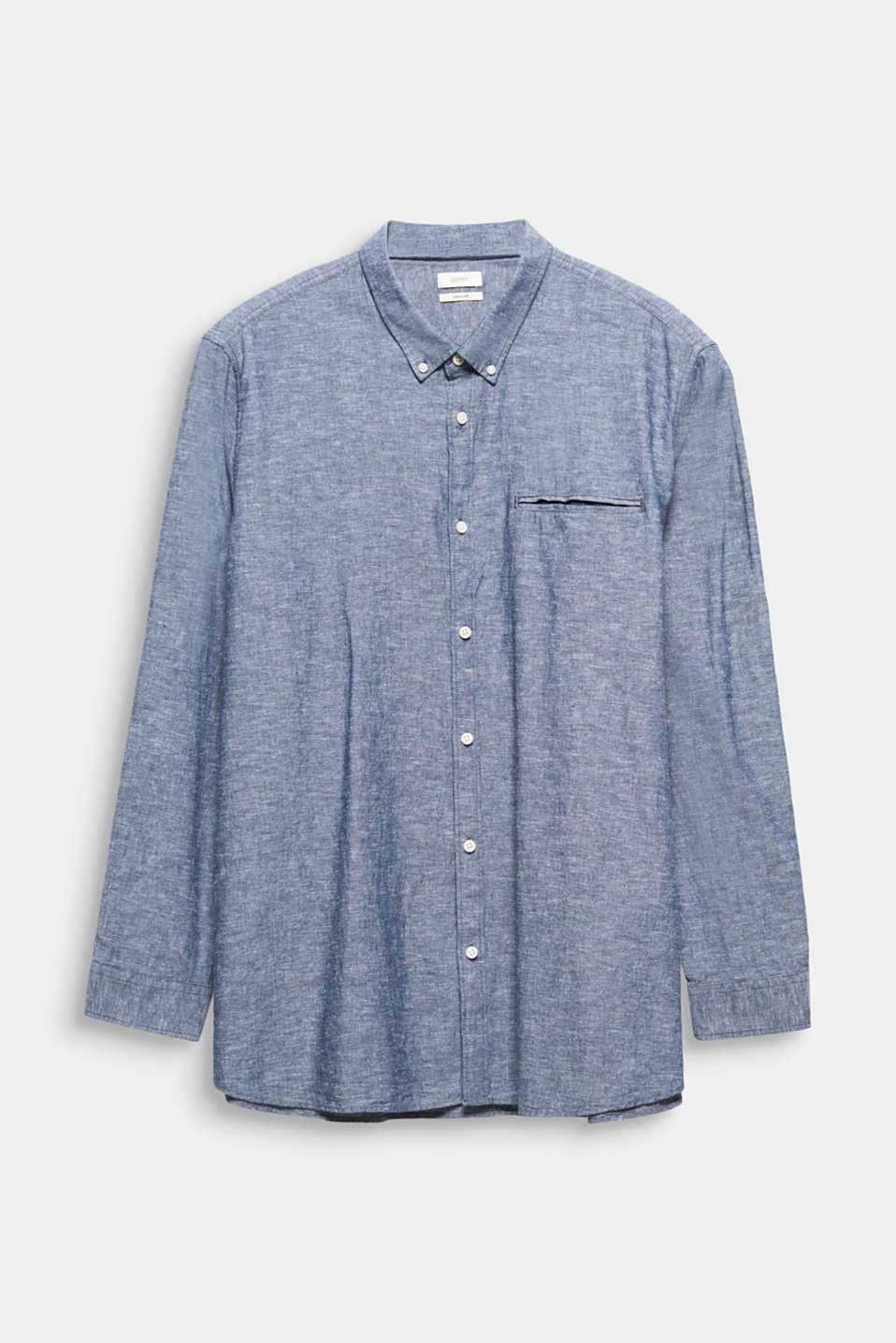 Shirt with linen and a button-down collar, NAVY 5, detail image number 7