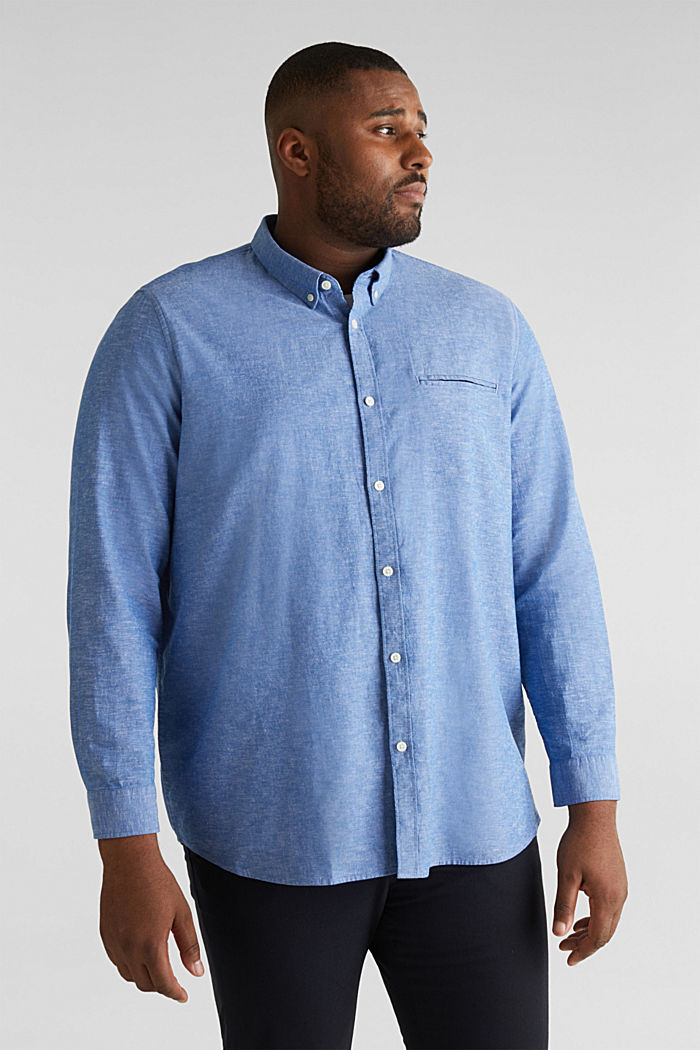 Shirt with linen and a button-down collar, LIGHT BLUE, detail image number 0
