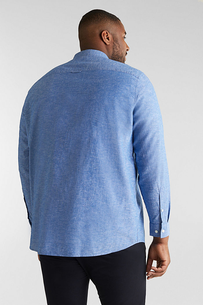 Shirt with linen and a button-down collar, LIGHT BLUE, detail image number 3