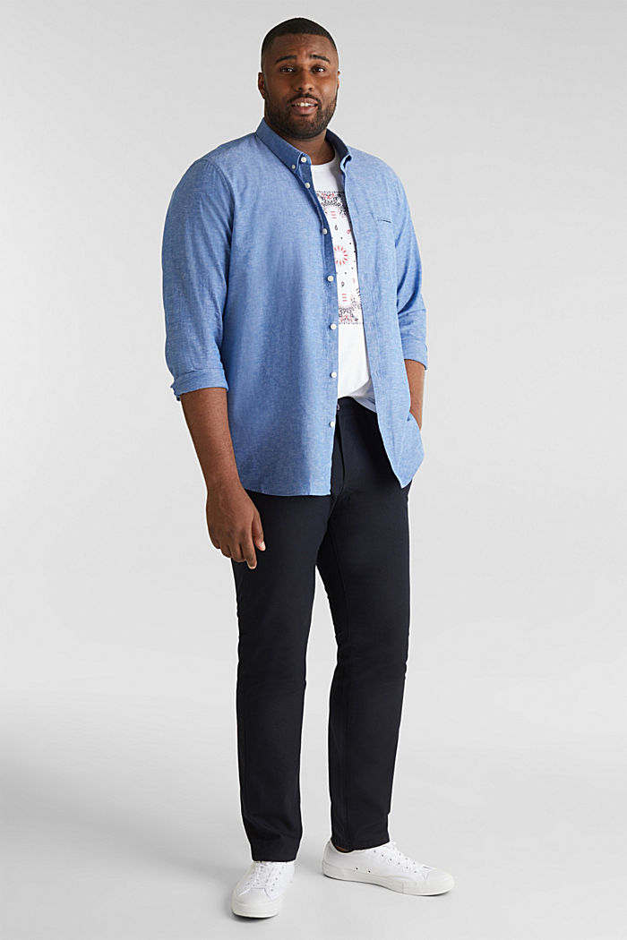 Shirt with linen and a button-down collar, LIGHT BLUE, detail image number 1