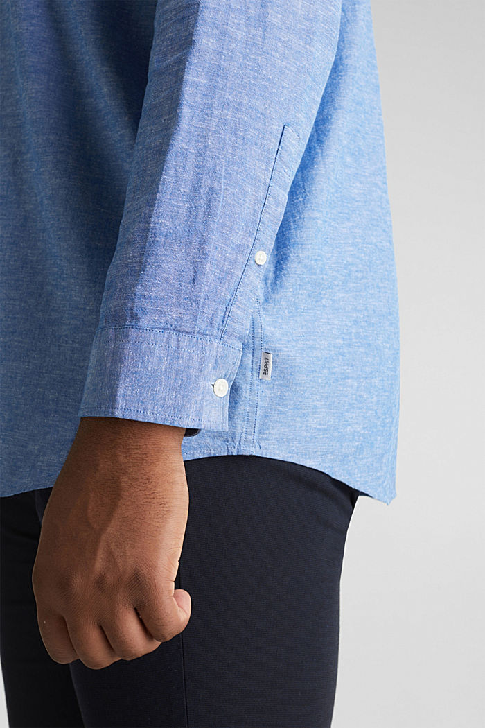 Shirt with linen and a button-down collar, LIGHT BLUE, detail image number 5