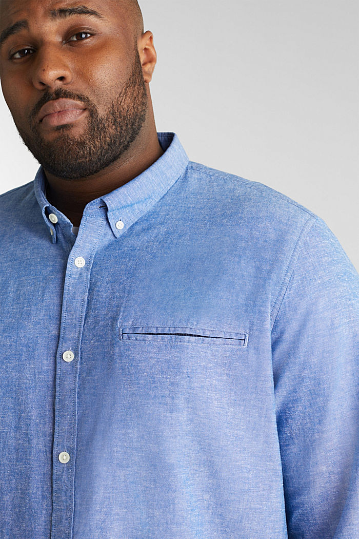 Shirt with linen and a button-down collar, LIGHT BLUE, detail image number 6