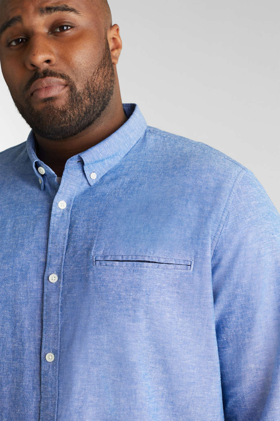 Shirt with linen and a button-down collar, LIGHT BLUE 5, detail image number 6