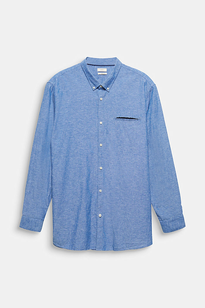 Shirt with linen and a button-down collar, LIGHT BLUE, detail image number 7