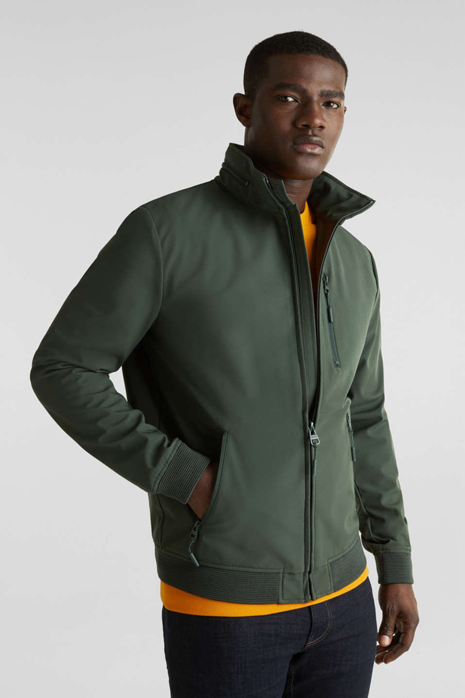 Outdoor jacket with an adjustable hood, KHAKI GREEN, detail image number 0