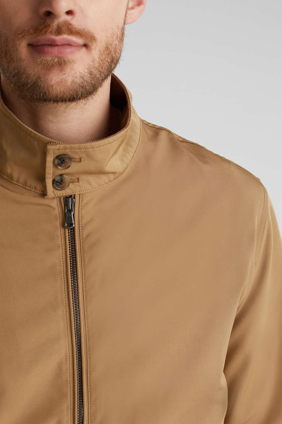 Bomber jacket with checked lining, BEIGE, detail image number 2