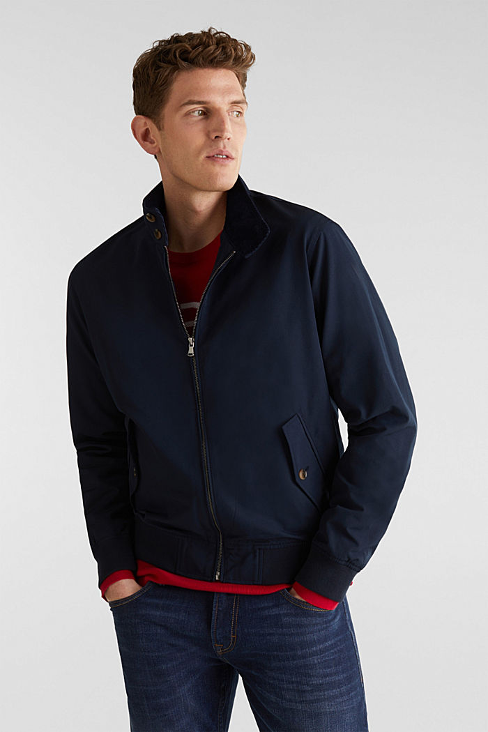 Bomber jacket with checked lining, DARK BLUE, detail image number 0