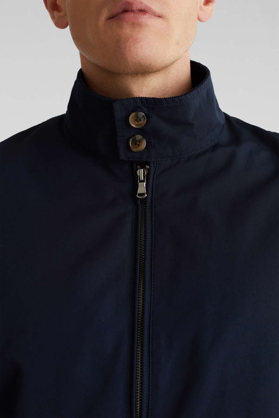 Bomber jacket with checked lining, DARK BLUE, detail image number 2