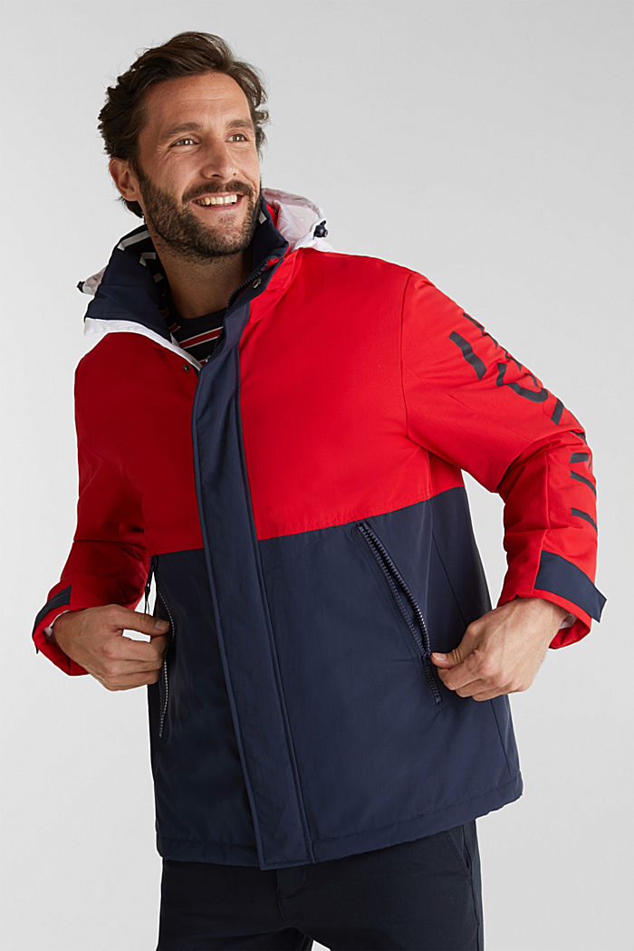 Outdoor jacket with a logo print, RED, detail image number 0