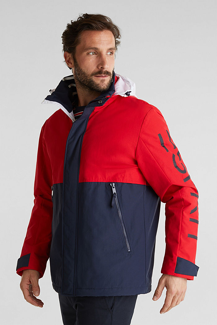 Outdoor jacket with a logo print, RED, detail image number 4