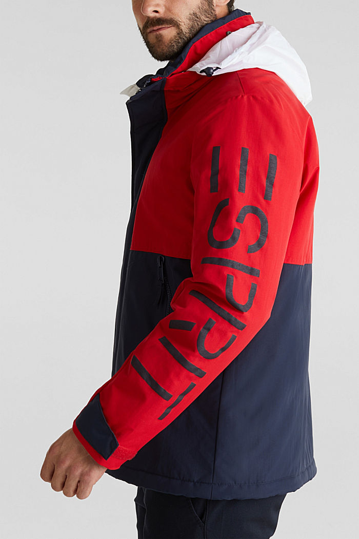 Outdoor jacket with a logo print, RED, detail image number 2