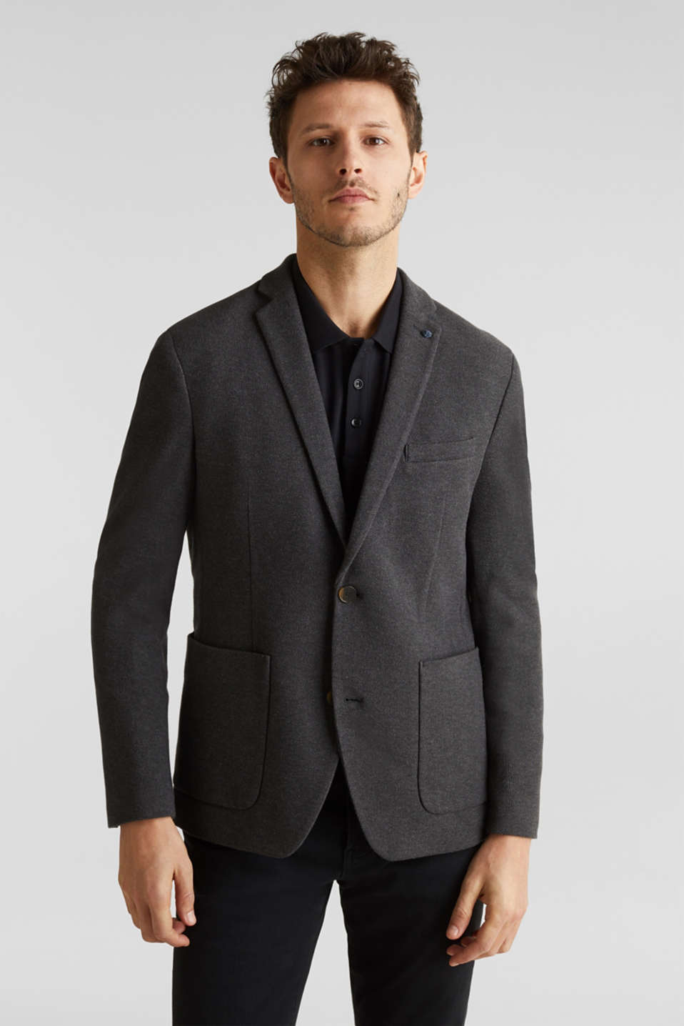 sports jacket made of 100% cotton, DARK GREY 5, detail image number 0