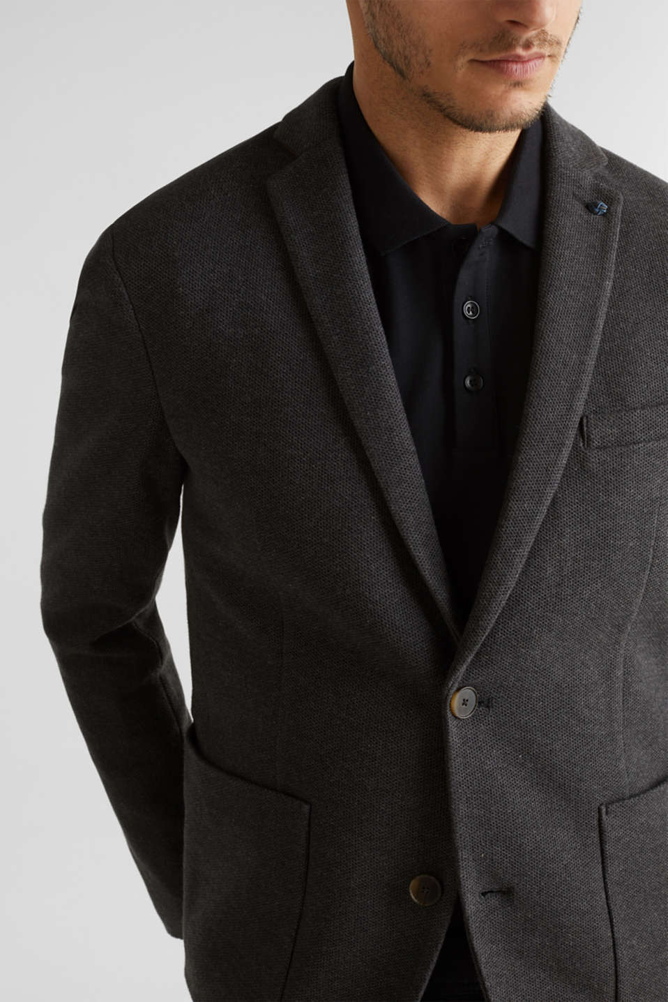 sports jacket made of 100% cotton, DARK GREY 5, detail image number 2
