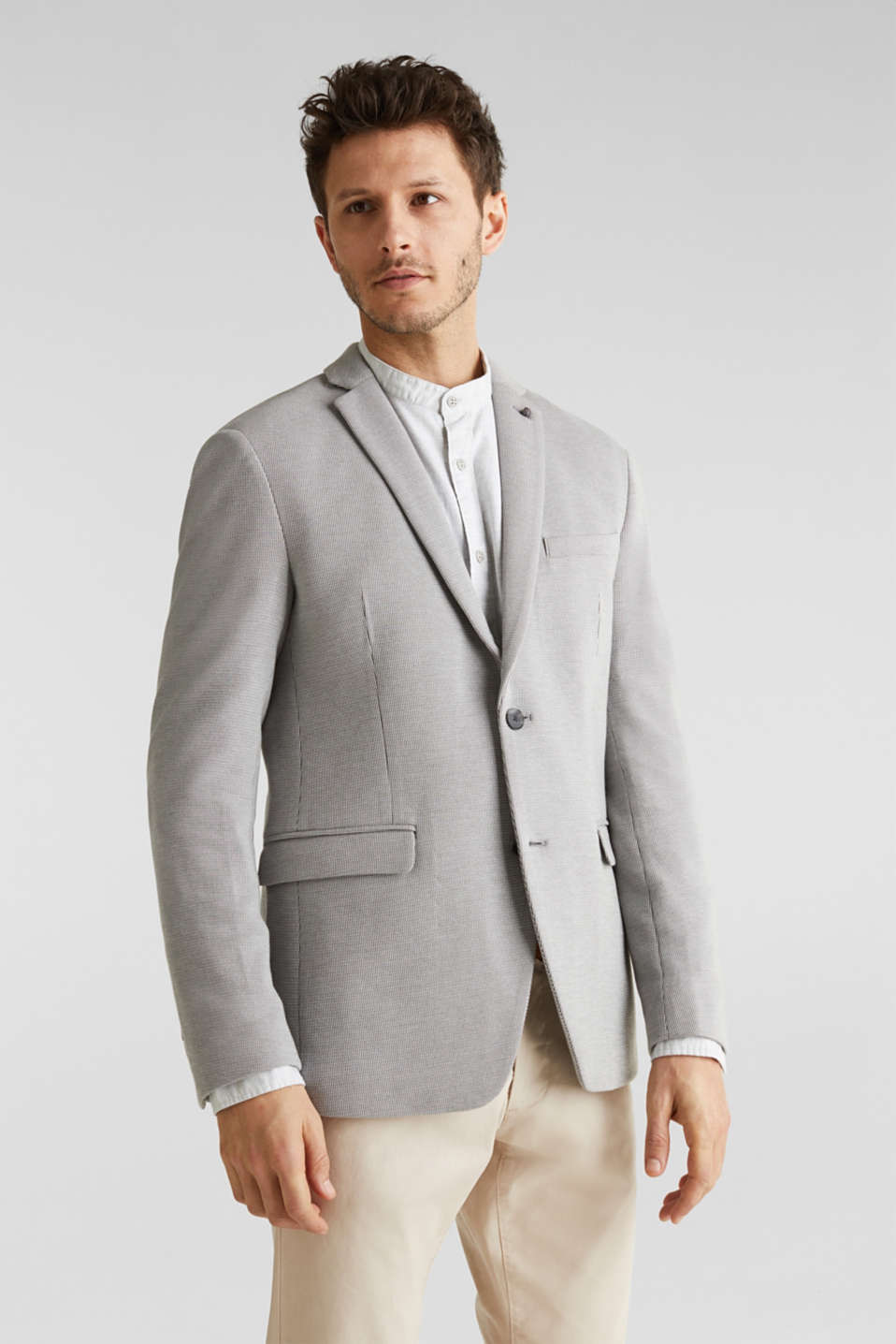 Jersey jacket with a striped texture, LIGHT GREY 3, detail image number 0