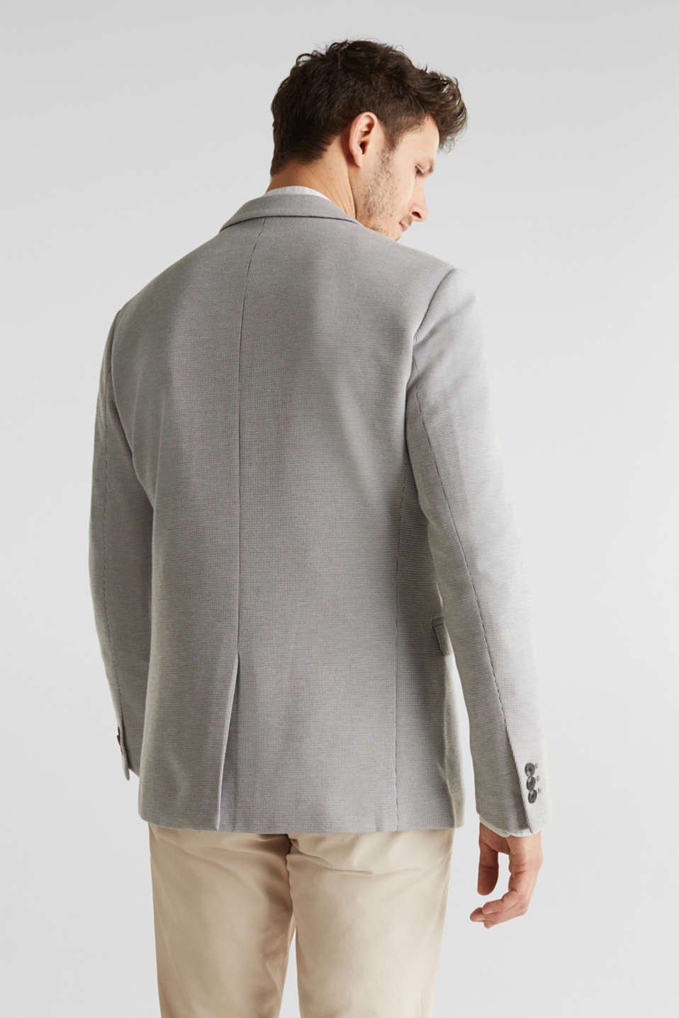 Jersey jacket with a striped texture, LIGHT GREY 3, detail image number 3