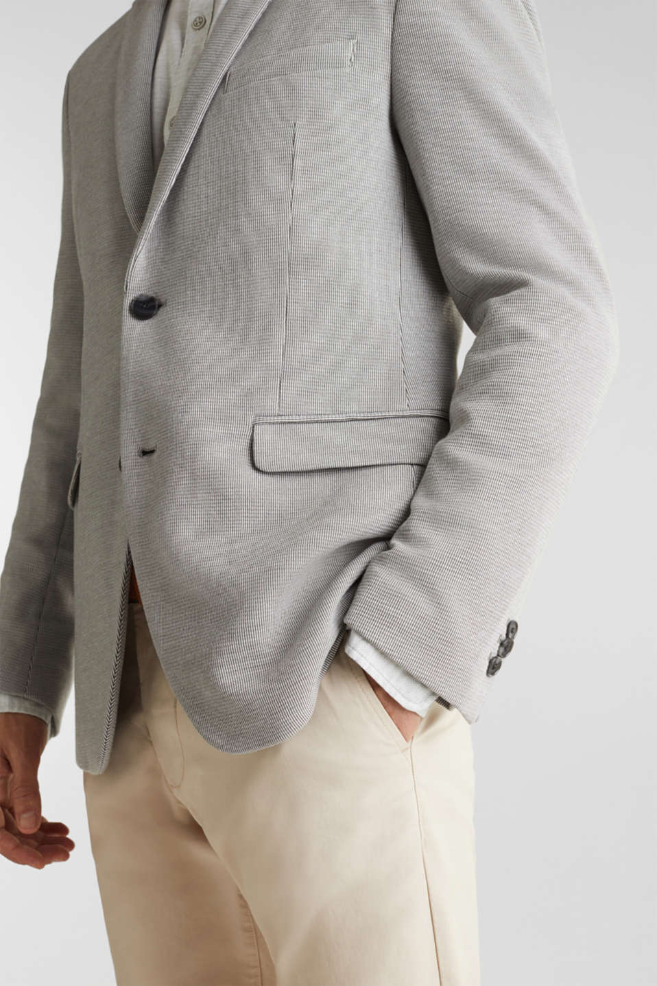 Jersey jacket with a striped texture, LIGHT GREY 3, detail image number 2