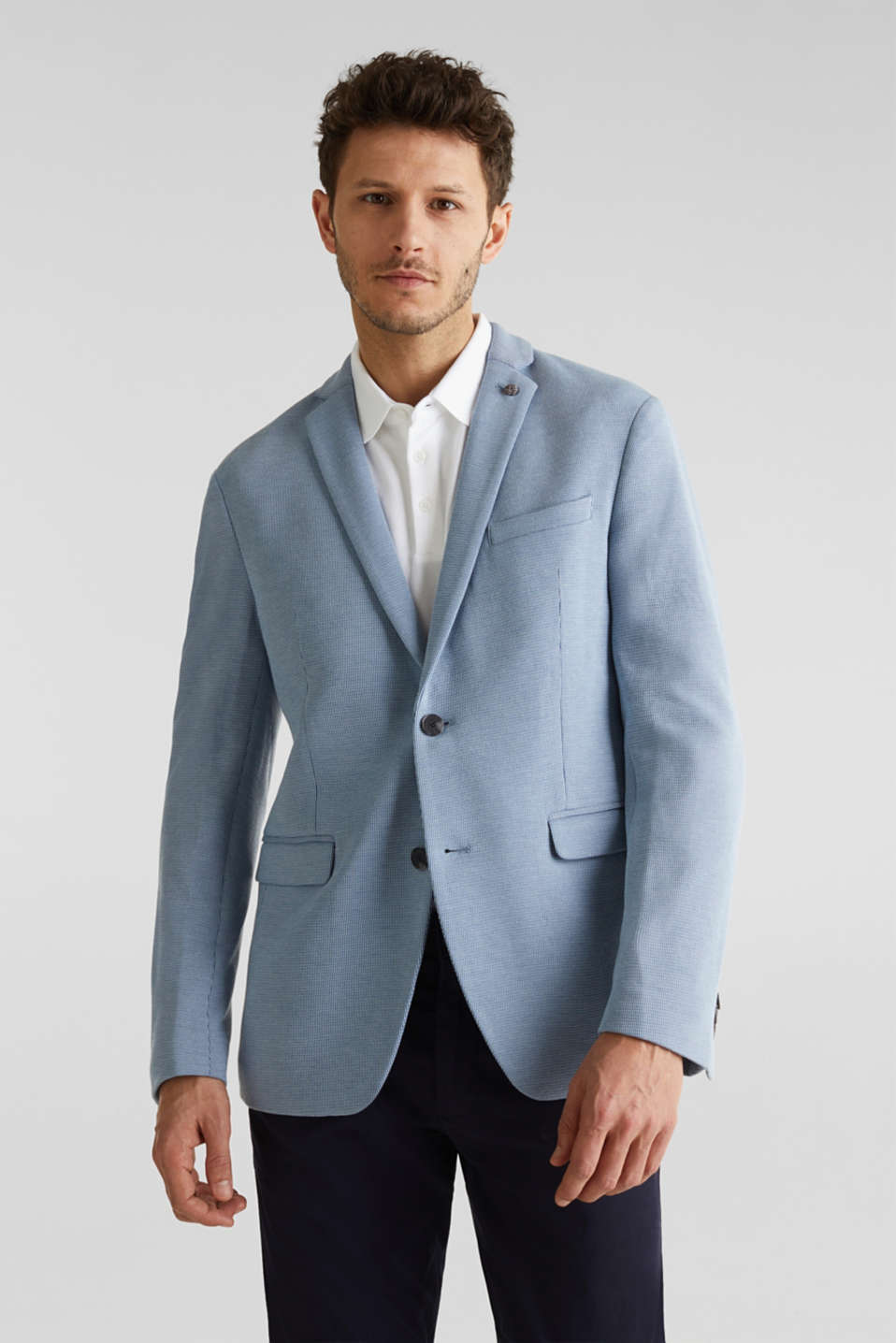 Esprit - Jersey jacket with a striped texture