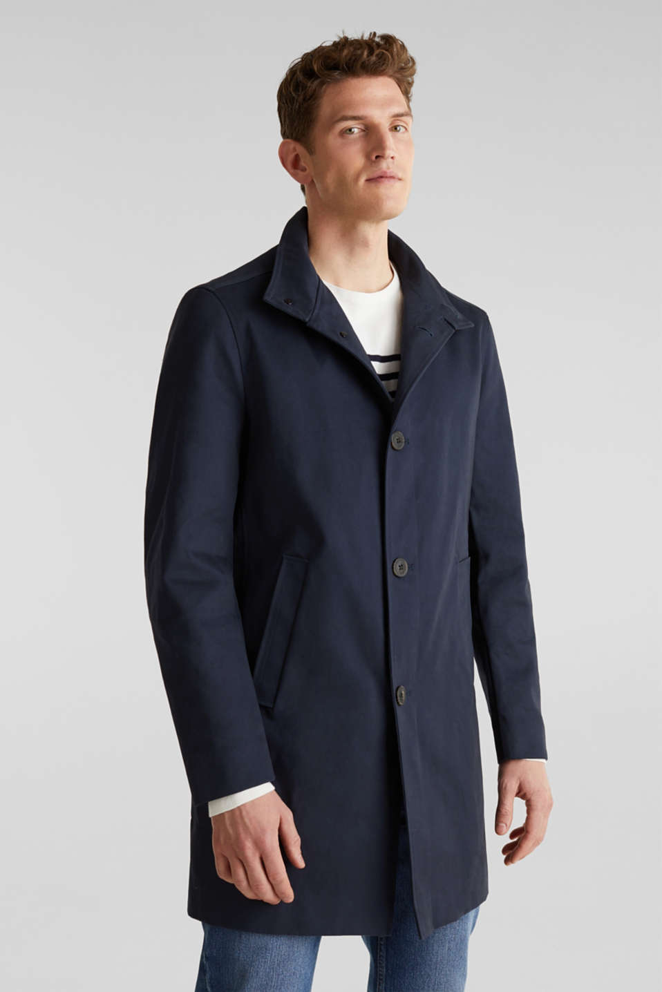 Esprit - Coat with a stand-up collar, 100% cotton