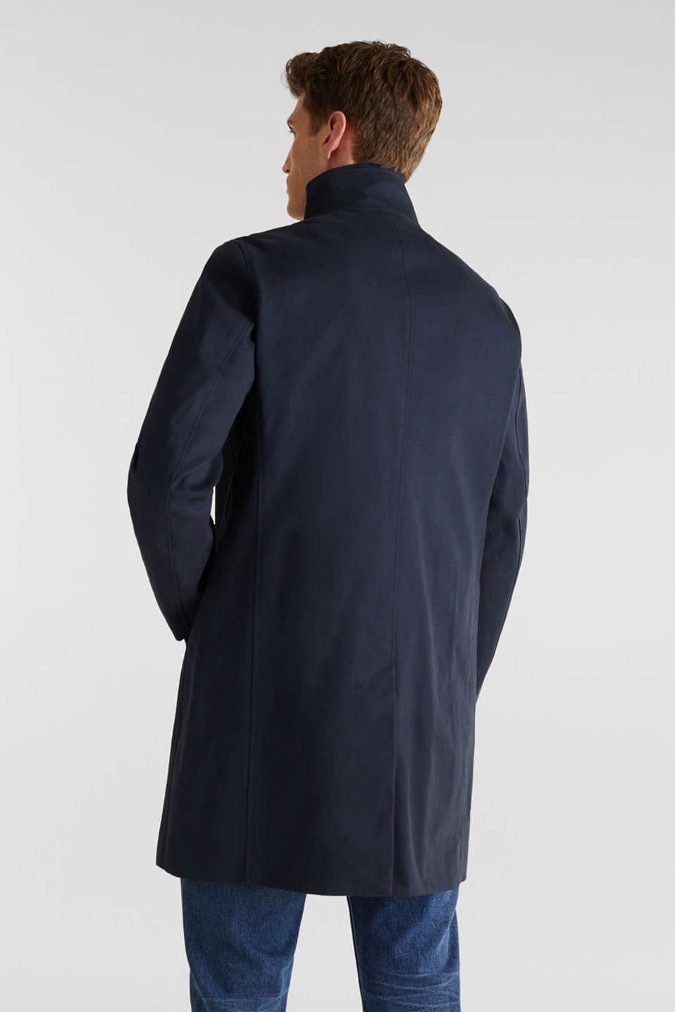 Coat with a stand-up collar, 100% cotton, DARK BLUE, detail image number 2