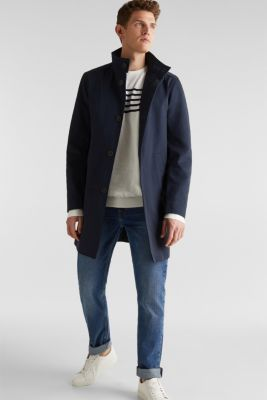 Coat with a stand-up collar, 100% cotton, DARK BLUE, detail