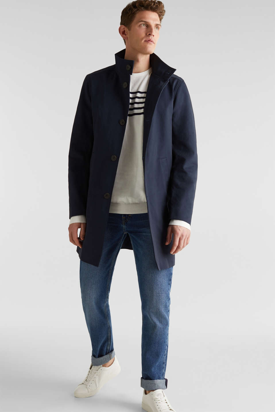 Coat with a stand-up collar, 100% cotton, DARK BLUE, detail image number 1