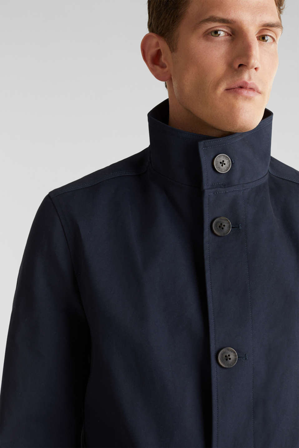 Coat with a stand-up collar, 100% cotton, DARK BLUE, detail image number 4