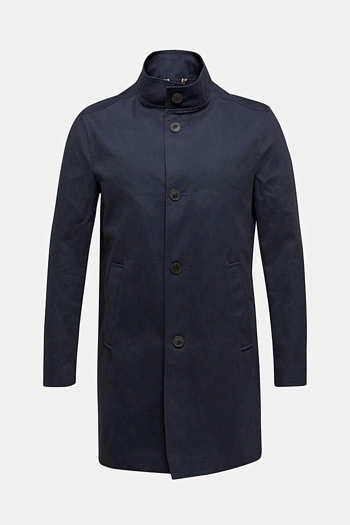 Mantel met staande kraag, 100% katoen, DARK BLUE, detail image number 0