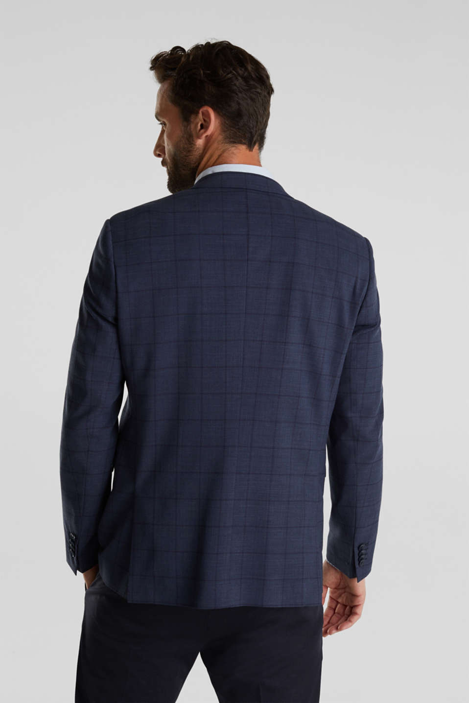 COOLMAX® CHECK mix + match: sports jacket with wool, GREY BLUE 3, detail image number 3