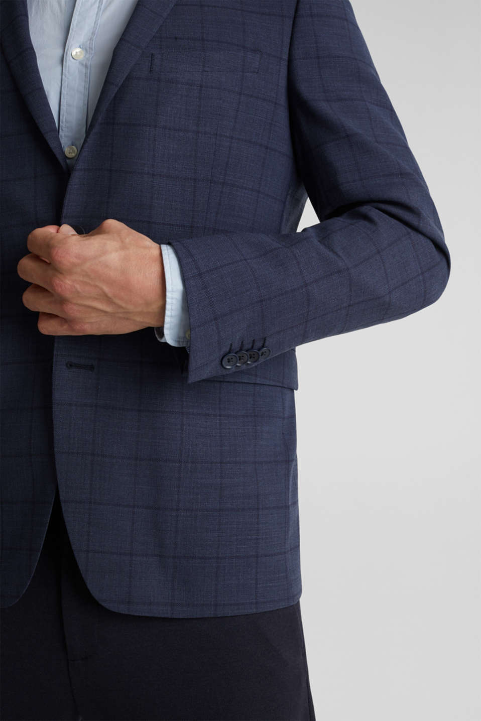 COOLMAX® CHECK mix + match: sports jacket with wool, GREY BLUE 3, detail image number 2