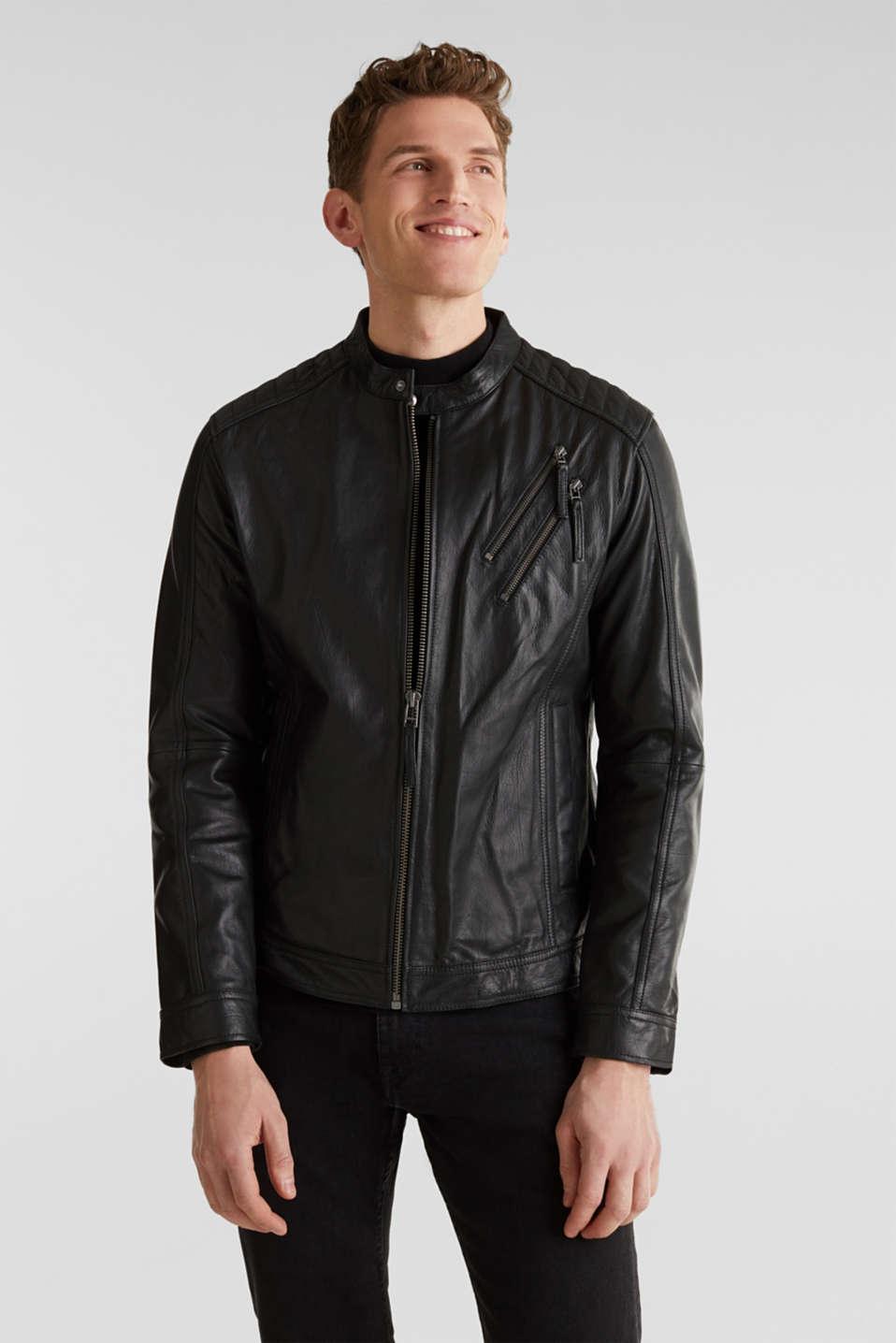 Leather biker jacket, BLACK, detail image number 0