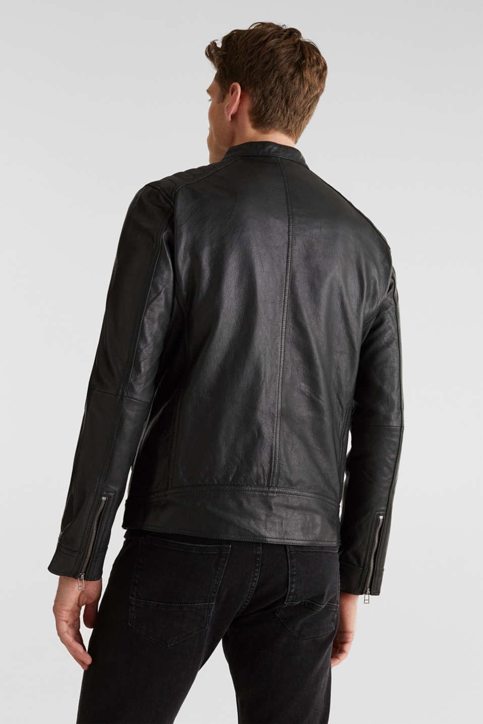 Leather biker jacket, BLACK, detail image number 3