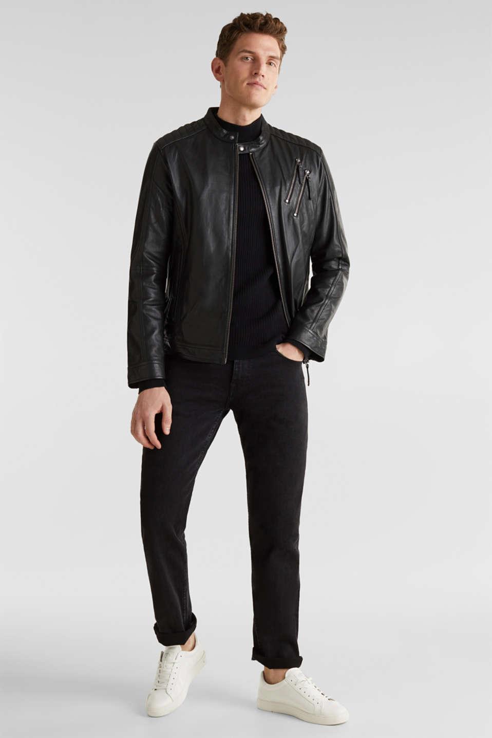 Leather biker jacket, BLACK, detail image number 1