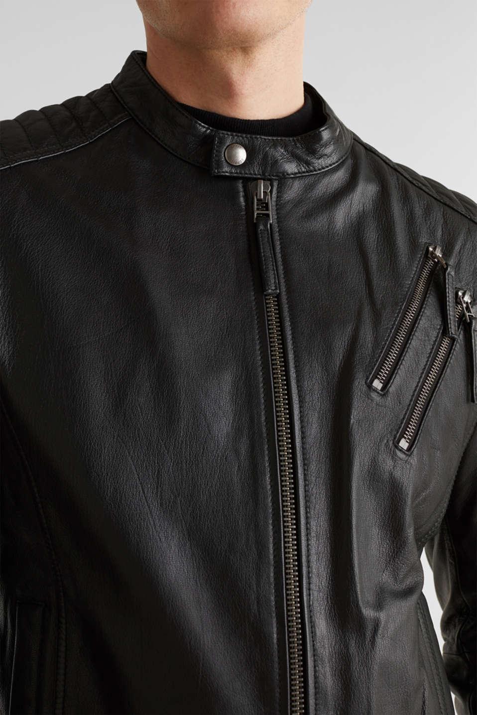 Leather biker jacket, BLACK, detail image number 2