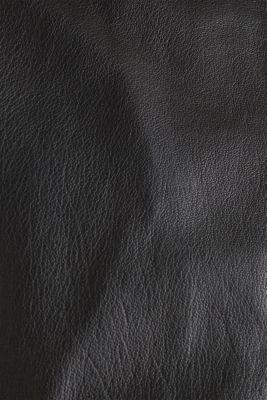 Leather biker jacket, BLACK, detail