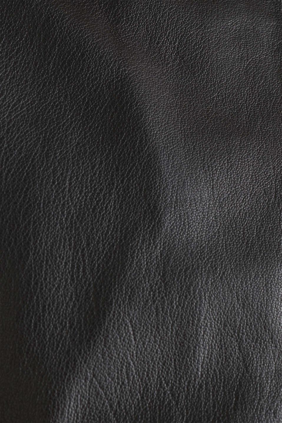 Leather biker jacket, BLACK, detail image number 4