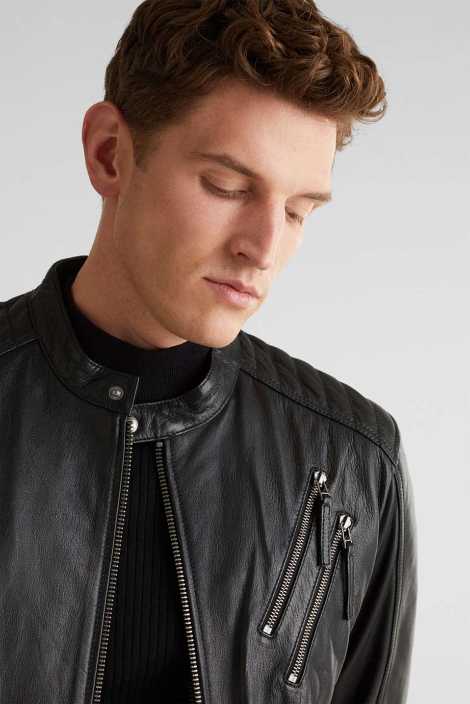 Leather biker jacket, BLACK, detail image number 5