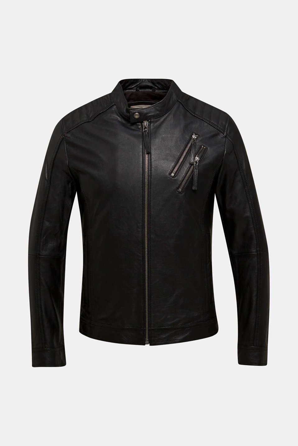 Leather biker jacket, BLACK, detail image number 6