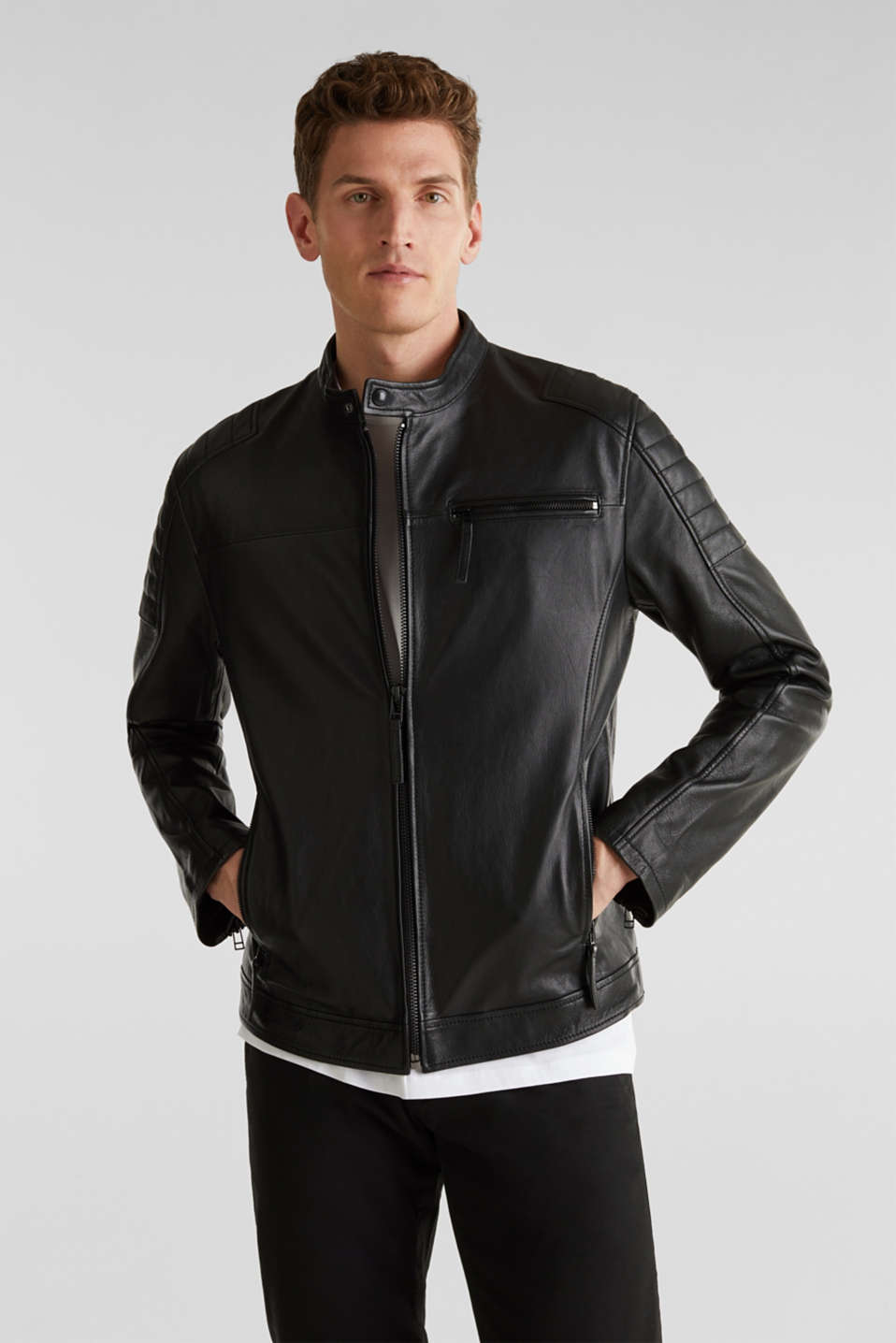 Leather biker jacket, BLACK, detail image number 0