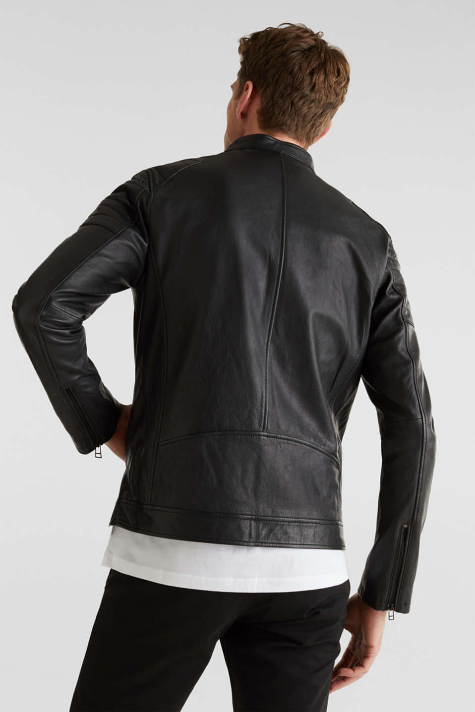 Leather biker jacket, BLACK, detail image number 3